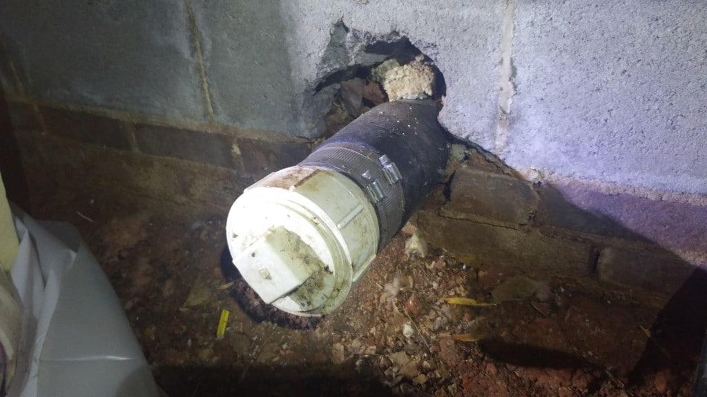 crawl space solutions, hydrocement, below grade pipe water seal, water seal below grade pipe, water seal below ground pipe
